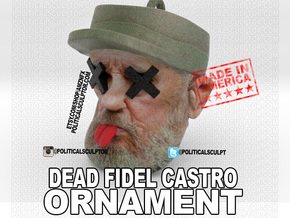 Dead Fidel Castro Ornament in Full Color Sandstone