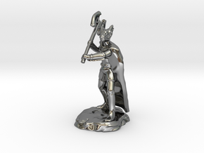 Dragonborn Ranger With Cape and Axe in Fine Detail Polished Silver