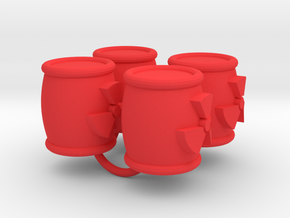 Power Grid Uranium Barrels - Set of 4 in Red Strong & Flexible Polished