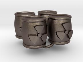 Power Grid Uranium Barrels - Set of 4 in Polished Bronzed Silver Steel