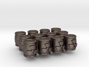 Power Grid Uranium Barrels - Set of 12 in Polished Bronzed Silver Steel
