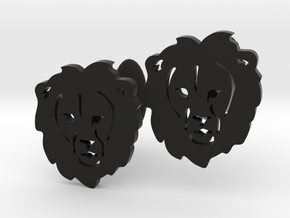 Lion Cufflinks in Black Natural Versatile Plastic