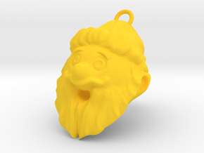 Santa claus Pendant in Yellow Processed Versatile Plastic