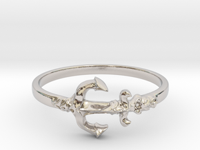 Anchor Of Hope Ring  in Rhodium Plated Brass: 6 / 51.5