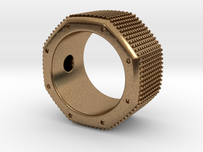 octagon ring with squares Ø18,5mm in Natural Brass