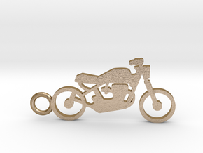 Moto keychain in Polished Gold Steel