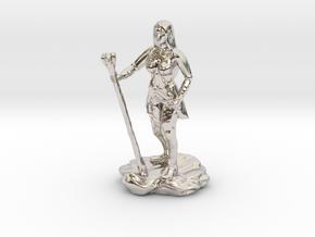 Half Elf Half Wizard/Rogue with Staff and dagger in Rhodium Plated Brass