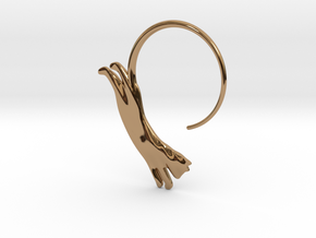 Leaping Cat Earring in Polished Brass