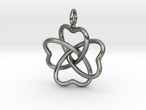 Heart Petals 4 Leaf Clover - 3.3cm - wLoopet in Fine Detail Polished Silver