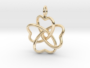 Heart Petals 4 Leaf Clover - 3.3cm - wLoopet in 14k Gold Plated Brass