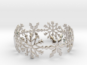 Snowflake Bangle (small) in Rhodium Plated Brass: Small