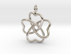 Heart Petals 4 Leaf Clover - 3.3cm - wLoopet in Rhodium Plated Brass