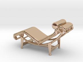 Mies-Van-Chaise-Chair - 2 Scaled Options in 14k Rose Gold Plated Brass: 1:24