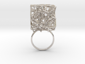 Voronoi Cube Ring (Size 8.5) in Rhodium Plated Brass