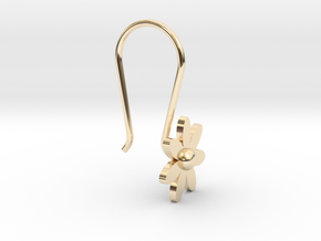 Flower Earring With Hook in 14k Gold Plated Brass