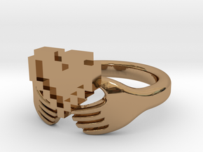 8bit Claddagh Ring  in Polished Brass: 6 / 51.5