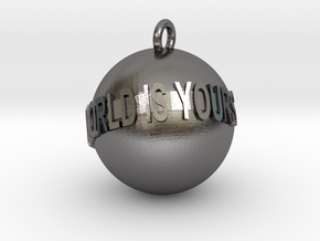 The World is Yours Keychain in Polished Nickel Steel