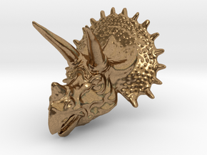 Triceratops Head - Pendant in Natural Brass