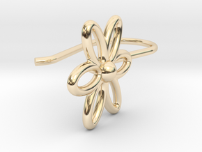Flower Earring With Hook  in 14K Yellow Gold