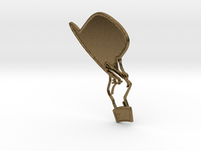 Hats off to you - hand doffing a hat brooch in Natural Bronze
