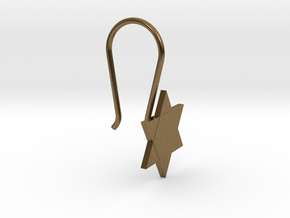 Custom Star Earring With Hook in Natural Bronze