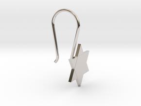 Custom Star Earring With Hook in Platinum
