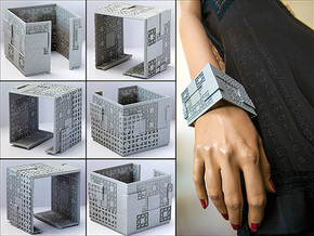Menger Matrix Cuff Bracelet in Gray PA12