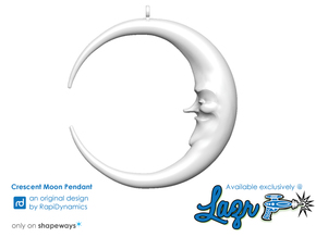Crescent Moon Pendant in White Natural Versatile Plastic