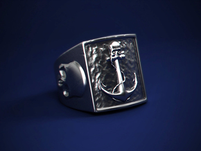 Pirate Anchor Ring in Natural Silver