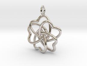 Heart Petals 5 Leaf Clover - 3.5cm - wLoopet in Platinum