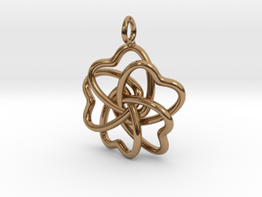 Heart Petals 5 Leaf Clover - 3.5cm - wLoopet in Polished Brass