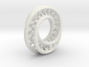 1 Inch Interconnected Moebius in White Natural Versatile Plastic