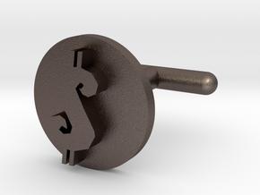 Cufflink - $ in Polished Bronzed Silver Steel