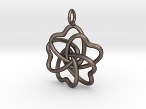 Heart Petals 5 Leaf Clover - 3.5cm - wLoopet in Polished Bronzed Silver Steel