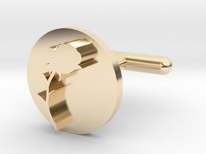 Rose Cufflink  in 14k Gold Plated Brass