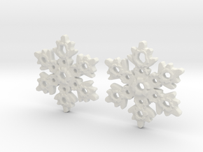 Snowflake Earring Dangles (pair) in White Natural Versatile Plastic