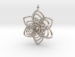 Heart Petals 6 Points Spiral - 5cm - wLoopet in Rhodium Plated Brass