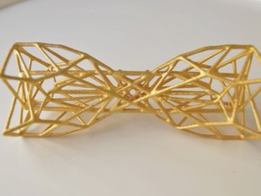 Geometric Bow Tie  in Polished Gold Steel