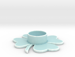 Clover tealight holder in Gloss Celadon Green Porcelain