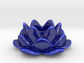 Tealight Lotus Flower Candle Holder 1 in Gloss Cobalt Blue Porcelain