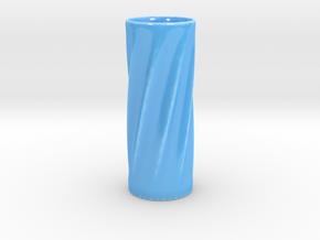 Twisted Flower Vase in Gloss Blue Porcelain