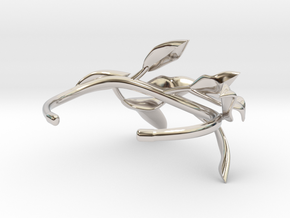 Laurel Leaf Cuff in Rhodium Plated Brass