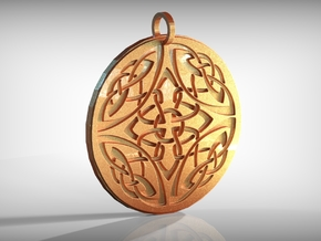 Celtic Knots Ornament Amulet in Polished Gold Steel