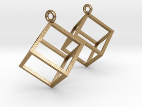 Cube Earrings (pair) in Polished Gold Steel