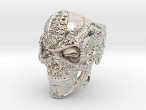 BioMech Skull Ring in Rhodium Plated Brass