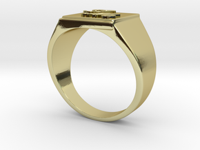 Initials Signet ring (size 63) in 18k Gold Plated Brass