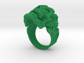 Filigree Skull Ring in Green Processed Versatile Plastic