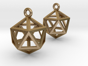 "Icosahedron Earrings .5"" in Polished Gold Steel"