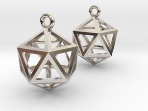Icosahedron Earrings in Platinum