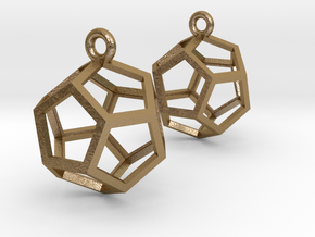Dodecahedron Earrings in Polished Gold Steel